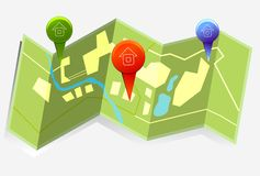 City map. Illustration with GPS Icons Stock Photography