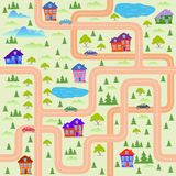 City map. Cartoon illustration of a map of the city Stock Photo
