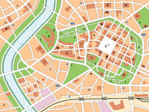 City Map. Generic city map with streets, railway, important buildings, green belts, industrial zone and a river. Symbols of churches, synagogues, historic
