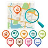 City map abstract background with set of various. Markers Royalty Free Stock Image