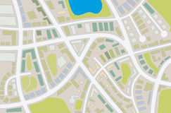 City map. Abstract illustration of a city map with details Stock Photography