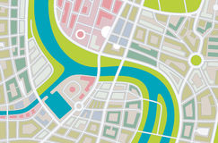 City map. Abstract illustration of a city map with river Royalty Free Stock Photo