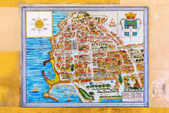 City map of Antibes, France, on wall tiles Stock Photos