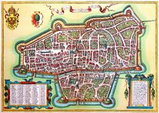City map of Augsburg. Kiev, Ukraine - March 24, 2018: ILLUSTRATIVE EDITORIAL The reproduction of antique engraving of city map of Augsburg with the inscriptions Royalty Free Stock Image