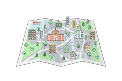 City on the map background. Clean and simple outline design. Stock Photography