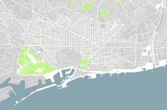 City Map of Barcelona, Spain. Illustration map of the city of Barcelona, Spain Catalonia Royalty Free Stock Photo