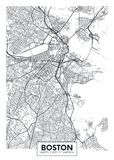 City map Boston, travel vector poster design stock illustration