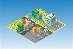 City map with buildings and trees in the isometric. The city from a bird`s eye view of isometric. Map of the city with buildings, architectural structures. On vector illustration