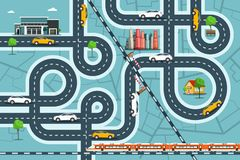 City Map with Cars on Roads. Top View Town Life with Railroad, Streets and Buildings. Vector Overhead Landscape Design vector illustration