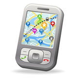 City Map on cell phone. With map pin marker stock illustration