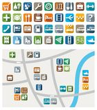 City map, color icons, service, urban services. Colored flat icons with symbols of city services and attractions. Their location on a map. For printing and royalty free illustration
