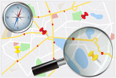 City Map with compass and loupe Royalty Free Stock Photos