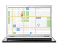 City Map On the Computer Screen Royalty Free Stock Photo