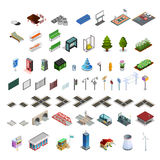 City Map Constructor Isometric Elements Collection Stock Image