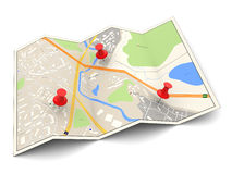City map. 3d illustration of city map with three red pins Royalty Free Stock Image