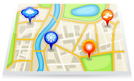 A city map with different weather forecast marker  Royalty Free Stock Photo