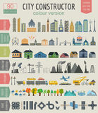City map generator. Elements for creating your perfect city. Col Stock Photos