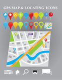 City map with GPS Icons. Illustration of City map with GPS Icons. design Stock Images
