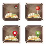 City map with GPS icons stock illustration