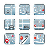 City map with GPS icons Stock Images