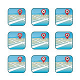 City map with GPS icons Royalty Free Stock Images