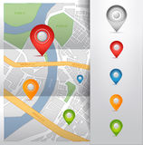 City map with gps pointers icons  illustration Stock Photography