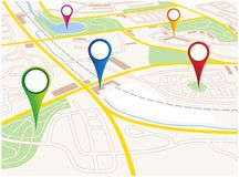 City map. Illustration of a city map of a fictive city
