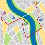 City map of an imaginary city with a river and multi-stop route. Vector illustration Royalty Free Stock Image