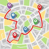 City map of an imaginary city with a river and multi-stop route. Vector illustration stock illustration