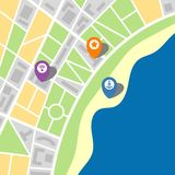 City map of an imaginary city with a sea. And three pins. Vector illustration vector illustration