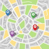 City map of an imaginary city with four pins. Vector illustration Stock Image
