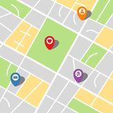 City map of an imaginary city with four pins. Vector illustration Stock Photo