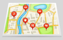 A city map with important location in red marker 2 Stock Photo
