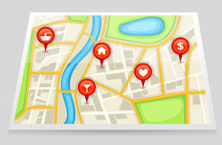 A city map with important location in red marker ( Stock Photo