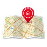 City map with label home pin Stock Images