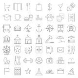 City map line icons set. City map icons set. Indicate locations. Vector illustration line of collection of characters  on white background Royalty Free Stock Photo