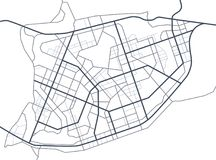 City map. Line scheme of roads. Town streets on the plan. Urban environment, architectural background. Vector. City map. Line scheme of roads. Town streets on royalty free illustration