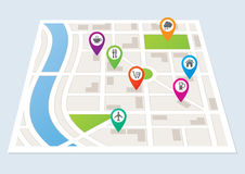 City Map with Location Markers Stock Image