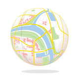 City map. Made-up map of a city as ball Stock Images