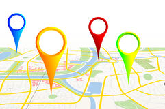 City map. Made-up map of a city with pins Stock Photo