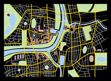 City map. Made-up map of a city with river Royalty Free Stock Photography