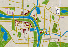City map. Made-up city map with streets, river and gardens Stock Photos