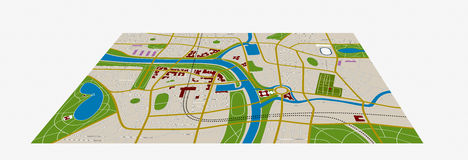 City map. Made-up city map with streets, river and gardens Stock Images