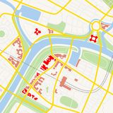 City map. Made-up city map with streets, river and gardens Royalty Free Stock Photos