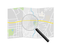 City Map Magnifying Glass Illustration. Isolated Royalty Free Stock Photography