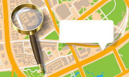 City map with a magnifying glass Stock Images