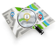 City map with magnifying glass. On white background Stock Photos