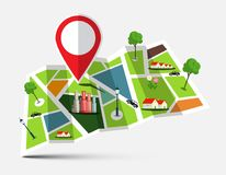 City Map with Marker, Houses, Trees and Cars. Vector Illustration Royalty Free Illustration