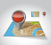 City Map With Marker, illustration design Royalty Free Stock Images