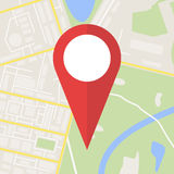 City Map With Marker, Vector Icon Stock Photography